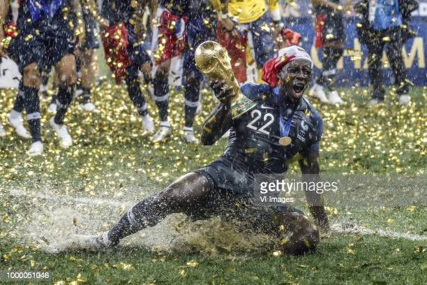 Benjamin Mendy of France with world cup trophy FIFA World Cup during the 2018 FIFA World Cup Russia Final match between France and Croatia at the...