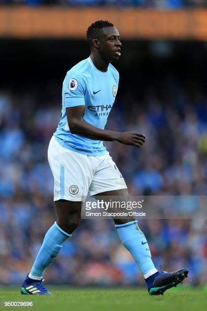 Benjamin Mendy of Man City in action during the Premier League match between Manchester City and Swansea City at the Etihad Stadium on April 22 2018...