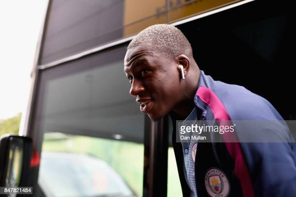 Benjamin Mendy of Manchester City arrives at the stadium prior to the Premier League match between Watford and Manchester City at Vicarage Road on...