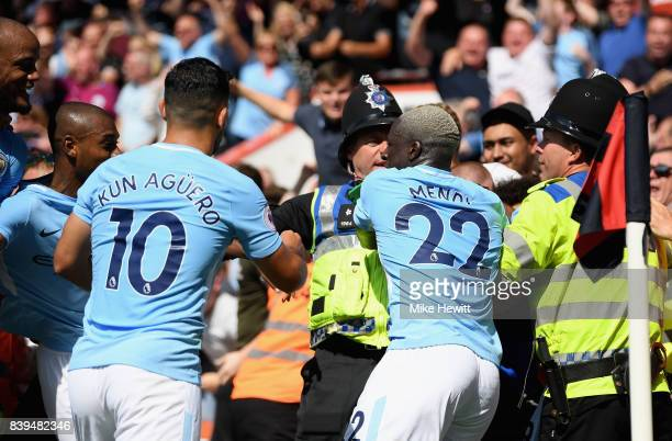 Benjamin Mendy of Manchester City celebrates his sides second goal during the Premier League match between AFC Bournemouth and Manchester City at...