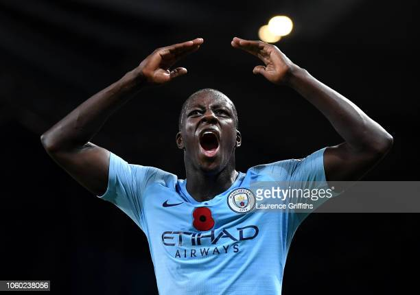 Benjamin Mendy of Manchester City celebrates victory after the Premier League match between Manchester City and Manchester United at Etihad Stadium...