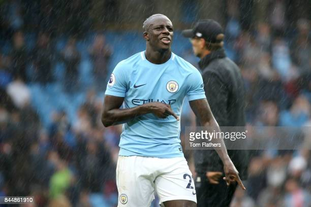 Benjamin Mendy of Manchester City celebrates victory after the Premier League match between Manchester City and Liverpool at Etihad Stadium on...