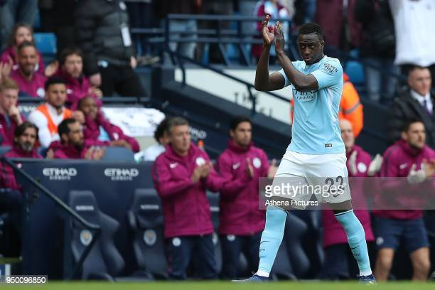 Benjamin Mendy of Manchester City comes on as a second half substitute during the Premier League match between Manchester City and Swansea City at...