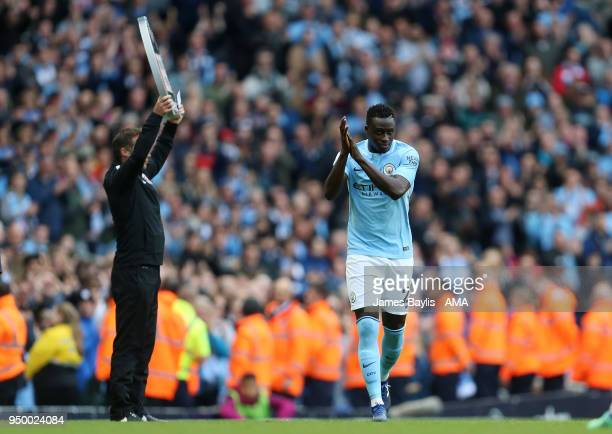 Benjamin Mendy of Manchester City comes on as a substitute during the Premier League match between Manchester City and Swansea City at Etihad Stadium...