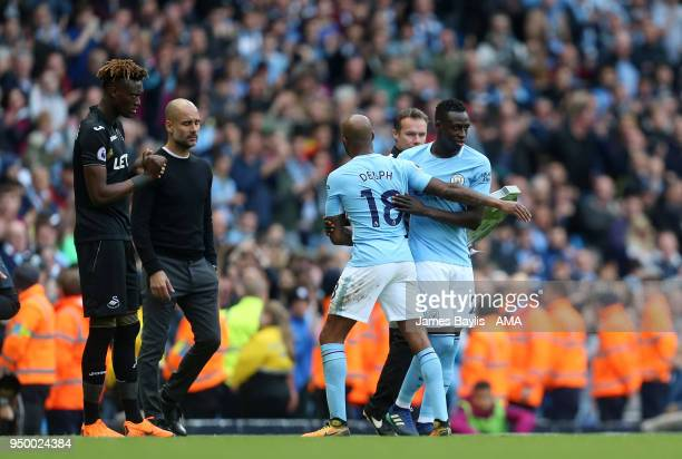 Benjamin Mendy of Manchester City comes on as a substitute for Fabian Delph of Manchester City during the Premier League match between Manchester...