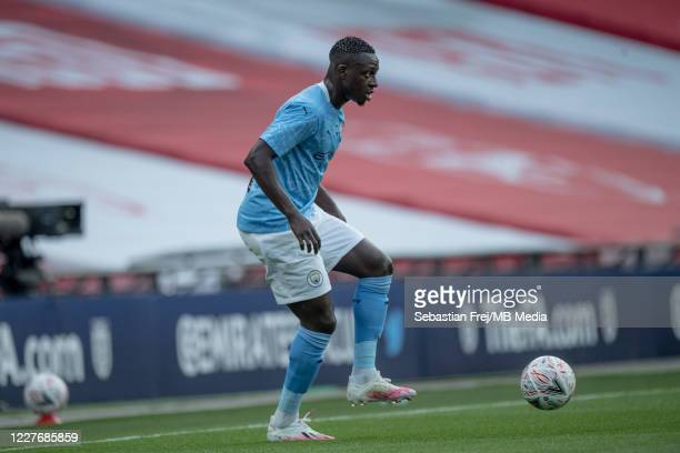 Benjamin Mendy of Manchester City control ball during the FA Cup Semi Final match between Arsenal and Manchester City at Wembley Stadium on July 18...