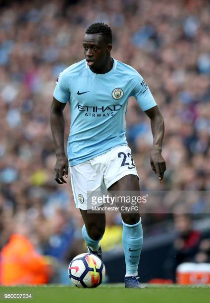 Benjamin Mendy of Manchester City controls the ball during the Premier League match between Manchester City and Swansea City at Etihad Stadium on...