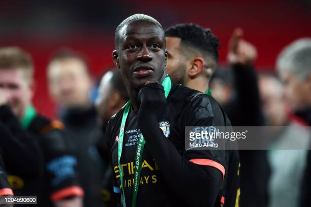 Benjamin Mendy of Manchester City during the Carabao Cup Final between Aston Villa and Manchester City at Wembley Stadium on March 1 2020 in London...