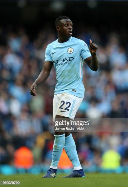 Benjamin Mendy of Manchester City during the Premier League match between Manchester City and Swansea City at Etihad Stadium on April 22 2018 in...