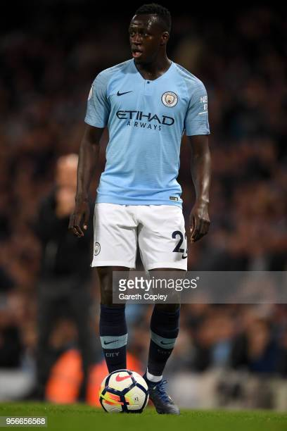 Benjamin Mendy of Manchester City during the Premier League match between Manchester City and Brighton and Hove Albion at Etihad Stadium on May 9...