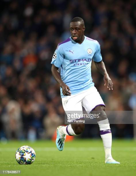 Benjamin Mendy of Manchester City during the UEFA Champions League group C match between Manchester City and Dinamo Zagreb at Etihad Stadium on...