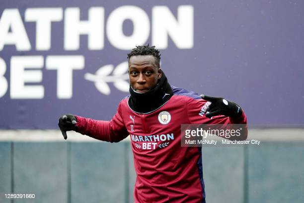 Benjamin Mendy of Manchester City in action during a training session at Manchester City Football Academy on December 04, 2020 in Manchester, England.