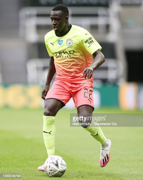 Benjamin Mendy of Manchester City in action during the FA Cup Quarter Final match between Newcastle United and Manchester City at St James Park on...