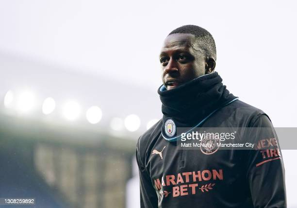 Benjamin Mendy of Manchester City in action during the FA Cup Quarter Final match between Everton and Manchester City at Goodison Park on March 20,...