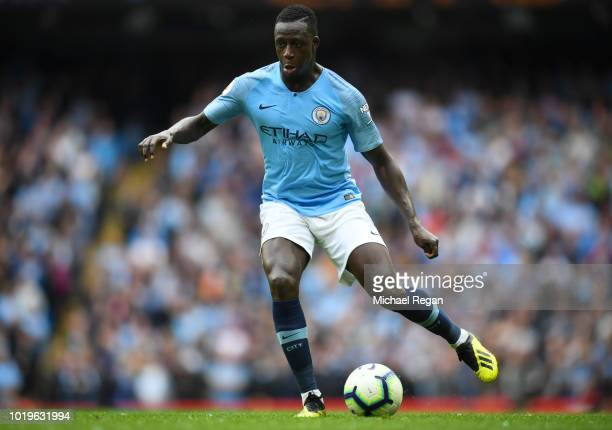 Benjamin Mendy of Manchester City in action during the Premier League match between Manchester City and Huddersfield Town at Etihad Stadium on August...