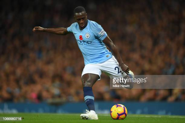 Benjamin Mendy of Manchester City in action during the Premier League match between Manchester City and Manchester United at Etihad Stadium on...