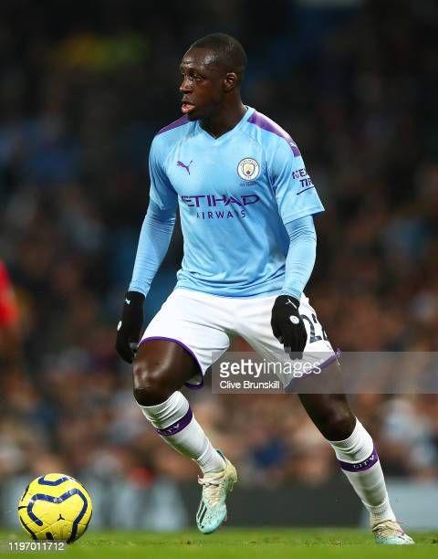 Benjamin Mendy of Manchester City in action during the Premier League match between Manchester City and Everton FC at Etihad Stadium on January 01,...