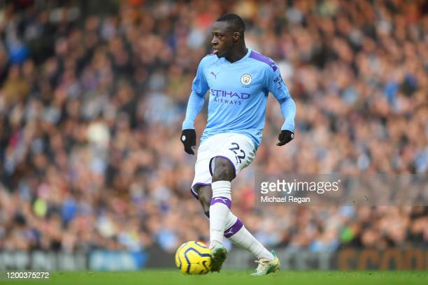 Benjamin Mendy of Manchester City in action during the Premier League match between Manchester City and Crystal Palace at Etihad Stadium on January...