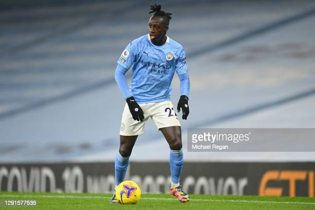 Benjamin Mendy of Manchester City in action during the Premier League match between Manchester City and West Bromwich Albion at Etihad Stadium on...