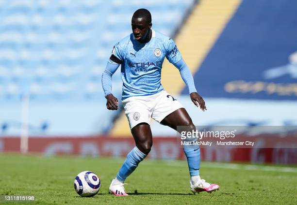 Benjamin Mendy of Manchester City in action during the Premier League match between Manchester City and Leeds United at Etihad Stadium on April 10,...