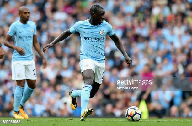 Benjamin Mendy of Manchester City in action during the Premier League match between Manchester City and Crystal Palace at Etihad Stadium on September...