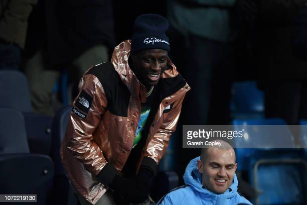 Benjamin Mendy of Manchester City in the stands during the UEFA Champions League Group F match between Manchester City and TSG 1899 Hoffenheim at...