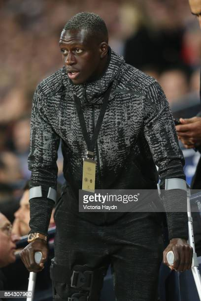 Benjamin Mendy of Manchester City is seen in the stands during the UEFA Champions League Group F match between Manchester City and Shakhtar Donetsk...