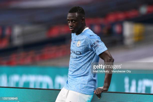 Benjamin Mendy of Manchester City looks on during the FA Cup Semi Final match between Arsenal and Manchester City at Wembley Stadium on July 18 2020...