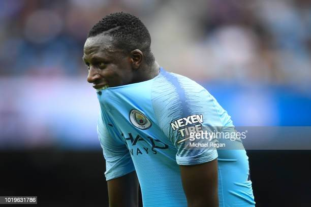 Benjamin Mendy of Manchester City looks on during the Premier League match between Manchester City and Huddersfield Town at Etihad Stadium on August...