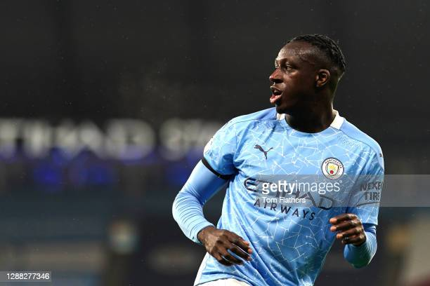 Benjamin Mendy of Manchester City looks on during the Premier League match between Manchester City and Burnley at Etihad Stadium on November 28, 2020...