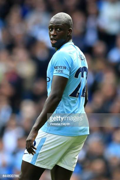 Benjamin Mendy of Manchester City looks on during the Premier League match between Manchester City and Liverpool at Etihad Stadium on September 9...