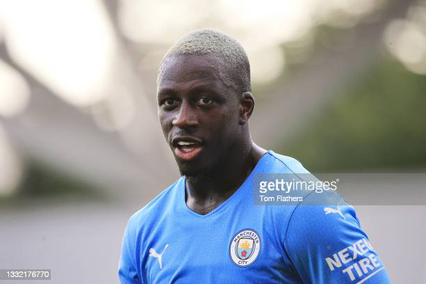 Benjamin Mendy of Manchester City looks on during the pre-season friendly match between Manchester City and Blackpool at Manchester City Football...