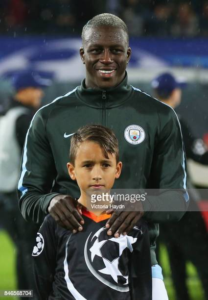 Benjamin Mendy of Manchester City looks on prior to the UEFA Champions League group F match between Feyenoord and Manchester City at Feijenoord...