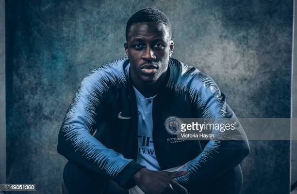 Benjamin Mendy of Manchester City pose during a portrait shoot on January 30, 2019 in Manchester, England.