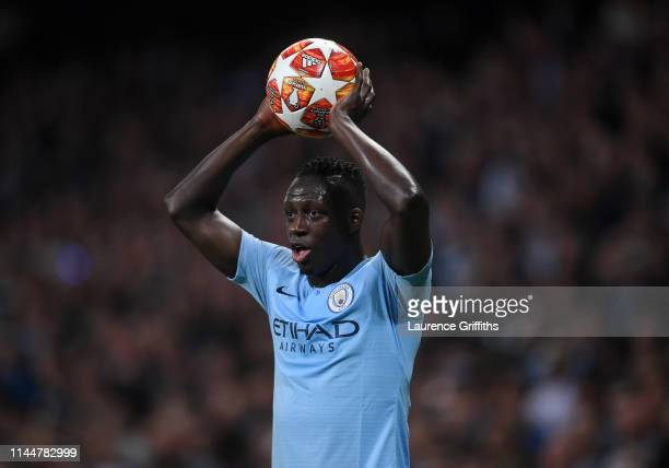 Benjamin Mendy of Manchester City prepares to take a throw-in during the UEFA Champions League Quarter Final second leg match between Manchester City...