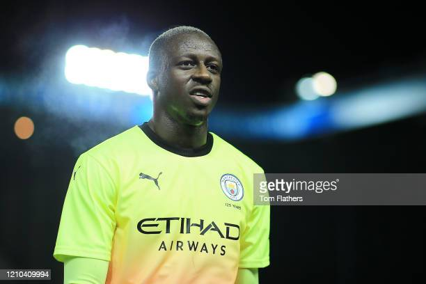 Benjamin Mendy of Manchester City reacts at half time during the FA Cup Fifth Round match between Sheffield Wednesday and Manchester City at...