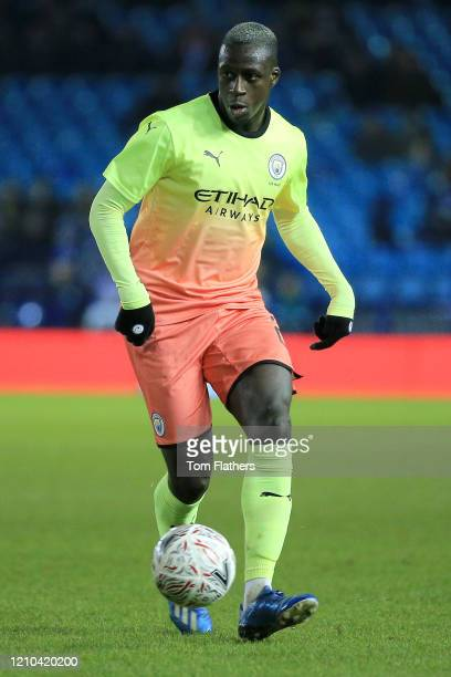 Benjamin Mendy of Manchester City runs with the ball during the FA Cup Fifth Round match between Sheffield Wednesday and Manchester City at...