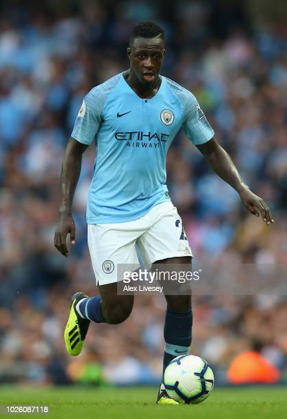 Benjamin Mendy of Manchester City runs with the ball during the Premier League match between Manchester City and Newcastle United at Etihad Stadium...