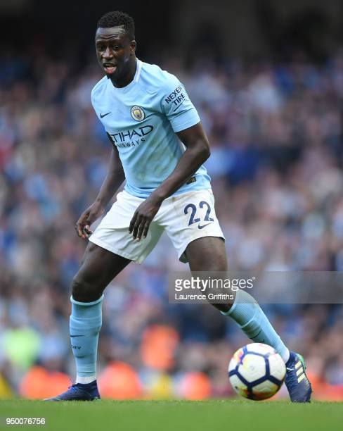 Benjamin Mendy of Manchester City runs with the ball during the Premier League match between Manchester City and Swansea City at Etihad Stadium on...