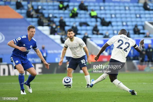 Benjamin Mendy of Manchester City scores their team's first goal during the Premier League match between Leicester City and Manchester City at The...