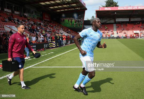 Benjamin Mendy of Manchester City walks out to warm up prior to the Premier League match between AFC Bournemouth and Manchester City at Vitality...