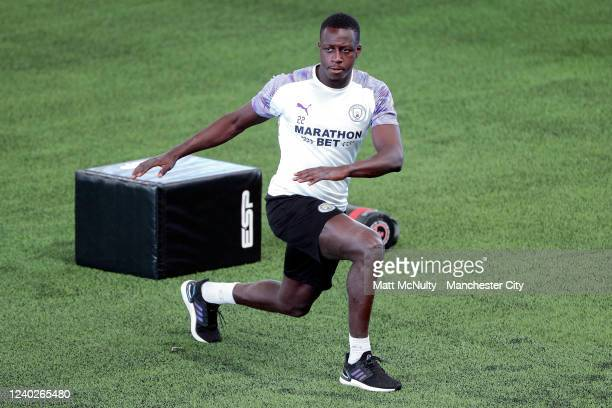 Benjamin Mendy of Manchester City warms up during the training session at Manchester City Football Academy on June 01 2020 in Manchester England
