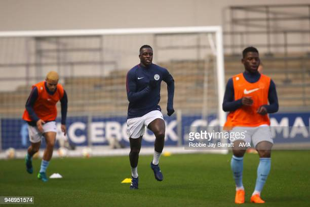 Benjamin Mendy of Manchester City warms up prior to the Premier League 2 match at Manchester City Football Academy on April 13 2018 in Manchester...