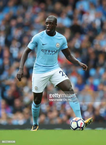 Benjamin Mendy of Manchester Cty in action during the Premier League match between Manchester City and Crystal Palace at Etihad Stadium on September...