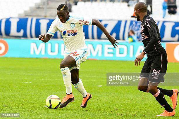 Benjamin Mendy of Marseille during the French Ligue 1 match between Olympique de Marseille v Toulouse FC at Stade Velodrome on March 6 2016 in...