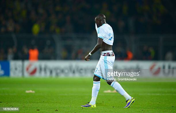 Benjamin Mendy of Olympique Marseille walks off after the UEFA Champions League Group F match between Borussia Dortmund and Olympique de Marseille at...