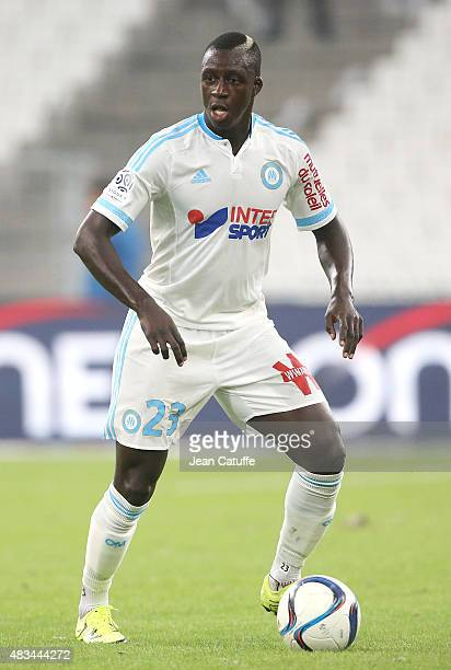 Benjamin Mendy of OM in action during the French Ligue 1 match between Olympique de Marseille and SM Caen at Stade Velodrome on August 8 2015 in...