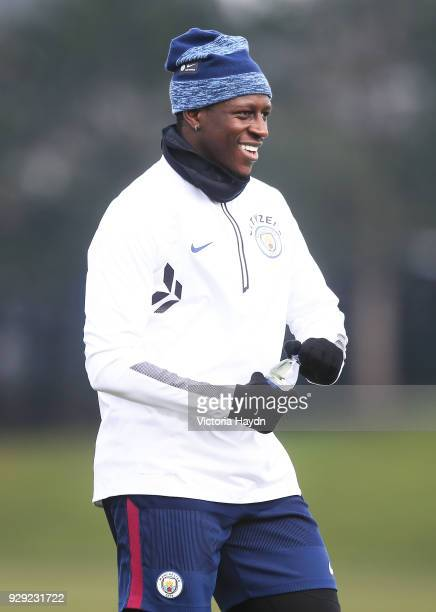 Benjamin Mendy reacts during training at Manchester City Football Academy on March 8 2018 in Manchester England