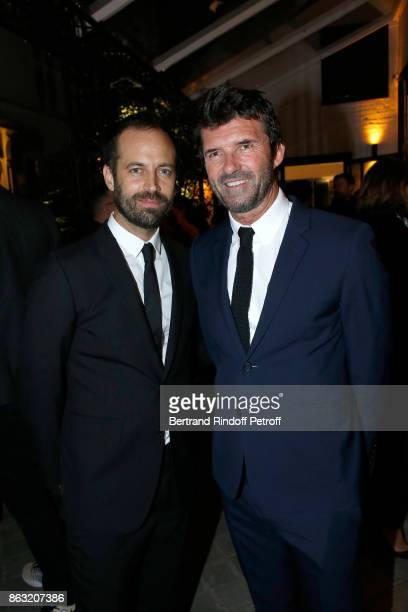 Benjamin Millepied and CEO of Mazarine Group PaulEmmanuel Reiffers attend the Art Exhibition Reflexion Redux of Benjamin Millepied and Barbara Kruger...