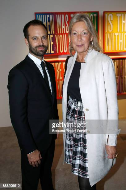 Benjamin Millepied and Christine Borgoltz attend the Art Exhibition Reflexion Redux of Benjamin Millepied and Barbara Kruger at Studio des Acacias on...